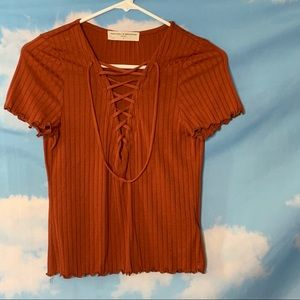 Urban Outfitters-Orange Short Sleeve Tie Front Tee